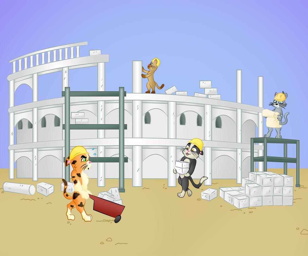Cats Building Purr City